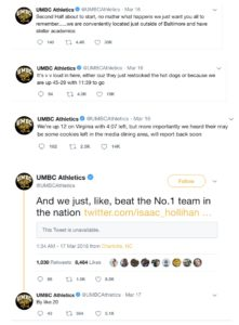 UMBC Athletics entertains fans with sense of humor during first round of the NCAA Tournament.