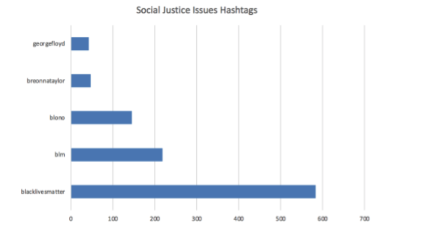 Hashtags related to social justice issues found in tweets from Bloomington-Normal in 2020.