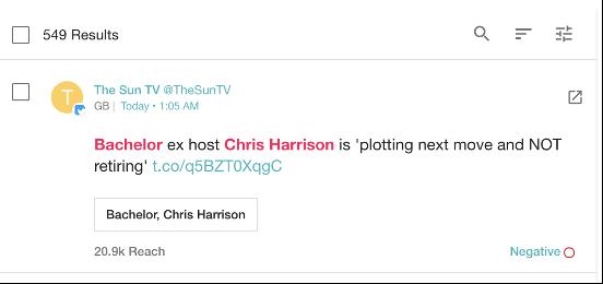"Tweet reads: ""Bachelor ex host Chris Harrison is 'plotting next move and NOT retiring'"